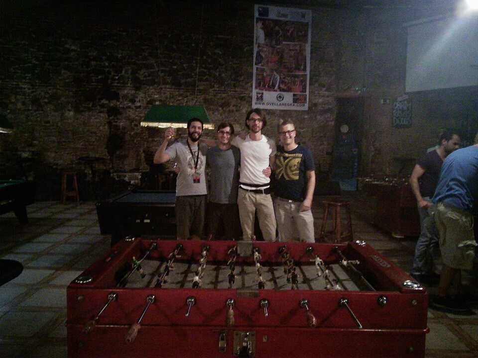 Playing foosball with guys from Codegram