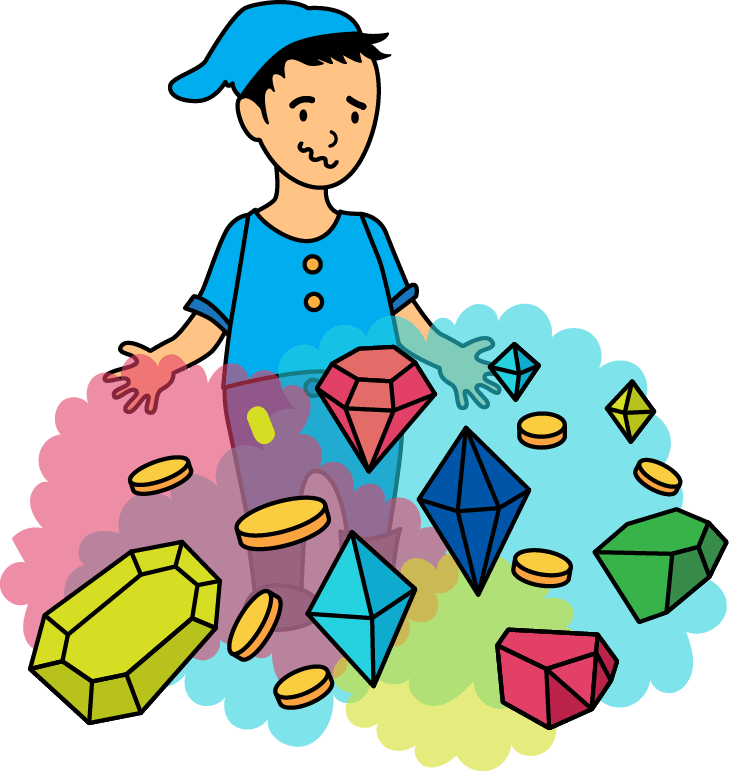 Boy in a gnome hat not knowing what to do with all the gems and coins
