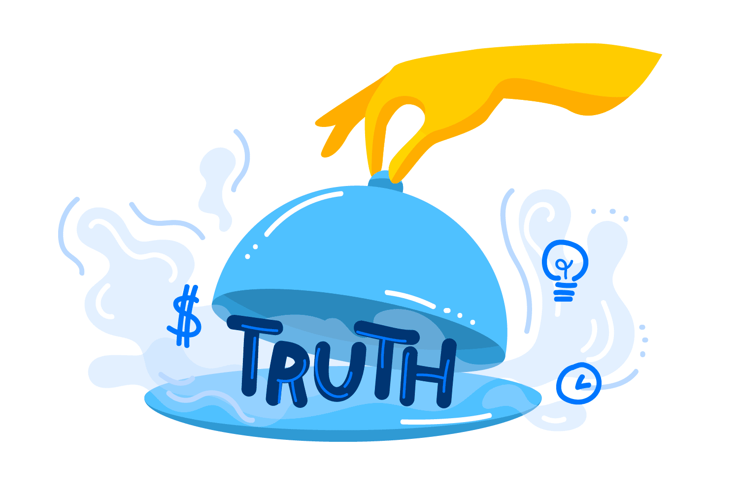 Illustration showing the word truth served as a meal on a plate with symbols of dollar, clock, and light bulb in smell coming from the dish