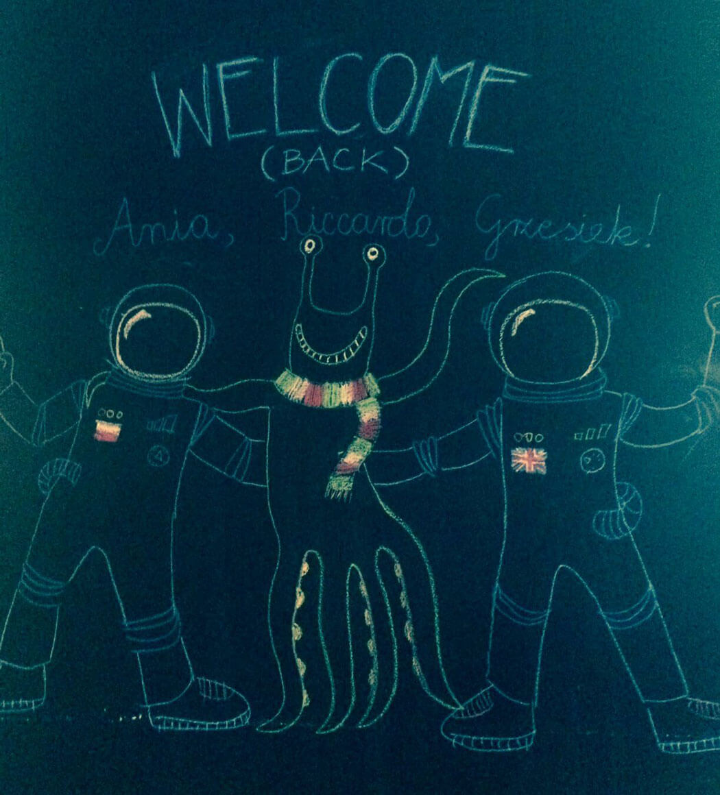 'Welcome back' drawing on a blackboard