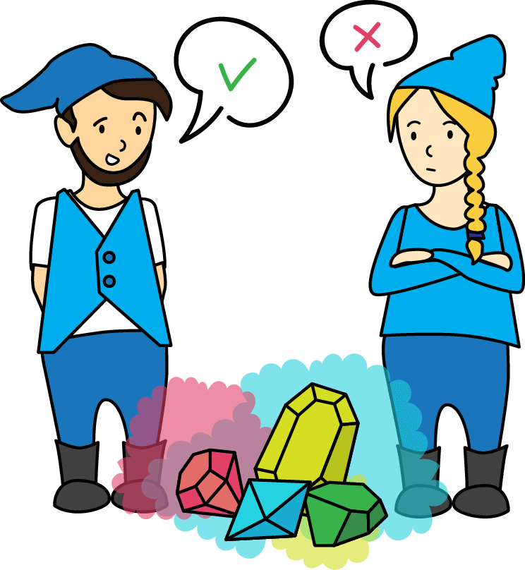 Boy and girl cartoon gnomes discuss how to divide up their salary of gemstones.