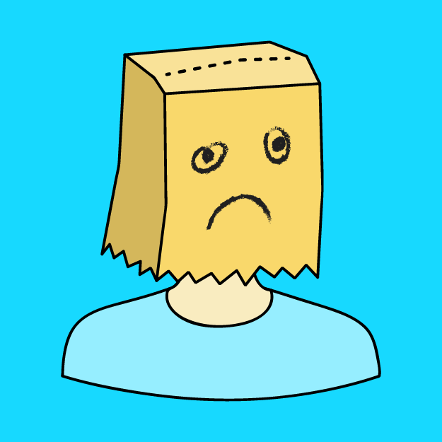 a person with a bag over their head with an unhappy face drawn on it